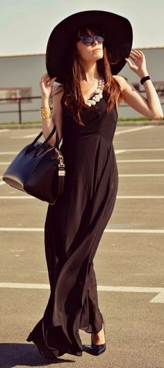 Romwe Double-layered Split Side Black Swing Maxi Dress by J'adore Fashion...LOVE LOVE LOVE THE HAT