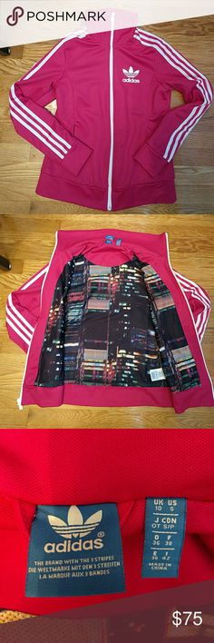 Adidas hot pink lined track jacket Zippered pocket s lined. Worn once or twice. adidas Jackets & Coats