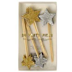 Party-Picks Sterne in Gold und Silber, Glatter, Meri Meri