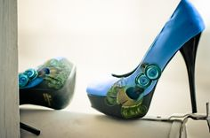 Blue Satin Peacock Formal Pumps by TomberAmoureuxDe on Etsy, $129.00