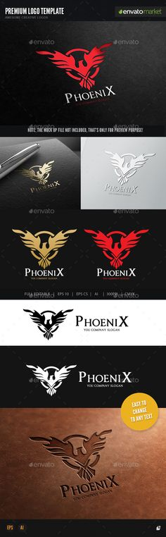 Phoenix by LayerSky Logo Template Scalable Vector Files Everything is editable Everything is resizable Easy to edit color / text Free fon Logo Design Template, Brochure Template, Logo Templates, Flyer Template, Phoenix Logo, Phoenix Vector, Logo Branding, Branding Design, Brand Identity