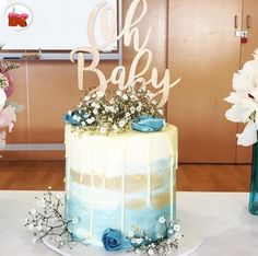 """129 Likes, 1 Comments - BRISBANE CAKES (@brisbanecakes) on Instagram: """"Baby Shower Cake, pretty and perfect! Love the colour fade and design, dark chocolate mud with…"""""""