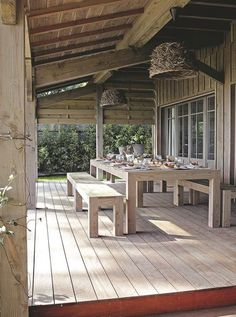 39 Cool Sea And Beach-Inspired Patios Outdoor Rooms, Outdoor Dining, Outdoor Decor, Porch Veranda, Outside Living, Decks And Porches, Cabana, New Homes, House Design