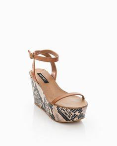 ankle strap platform with snake skin sole