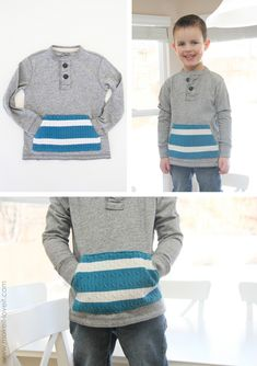 front pocket shirt embellish long sleeve tops with knitted scraps (or chopped up jumpers! Plain Shirts, Boys Shirts, Tee Shirts, Sewing For Kids, Diy For Kids, Pullover Upcycling, Alter Pullover, Old Sweater, Wool Sweaters
