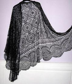 Antique Victorian Black Maltese Lace Shawl Circa 1860