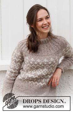Nordic Trails Sweater / DROPS 218-9 - Ilmaiset neuleohje DROPS Designilta Knitting Patterns Free, Free Knitting, Free Pattern, Crochet Patterns, Drops Design, Mint Sweater, Rose Sweater, Magazine Drops, How To Purl Knit