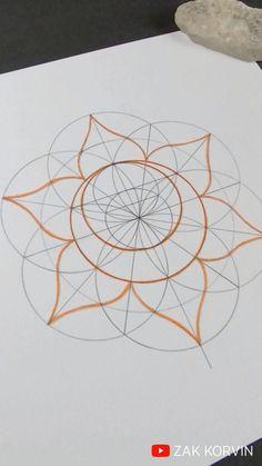 How To Draw Sacred Geometry, Sacred Geometry Patterns, Sacred Geometry Tattoo, Sacred Geometry Meanings, Mandala Art Therapy, Mandala Art Lesson, Mandala Drawing, Geometric Drawing, Geometric Art