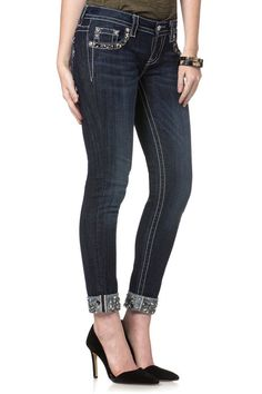 "Check out our new arrival from #MissMe! ""Shine Girl Cuffed Skinny Jeans"" Style JP7214CK available at Billy's Western Wear in Boerne and Kerrville, Texas."