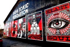 Shepard Fairey with The Non Toxic Revolution Campaign in the Arts District in Downtown LA...