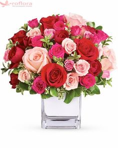 Order Teleflora's Love Medley Bouquet with Red Roses from Chester's Flower Shop And Greenhouses, your local Utica florist. Send Teleflora's Love Medley Bouquet with Red Roses for fresh and fast flower delivery throughout Utica, NY area. Bunch Of Red Roses, Red And Pink Roses, Romantic Flowers, Pretty Flowers, Wedding Flowers, Flower Delivery, Rosen Arrangements, Floral Arrangements, Pink Roses