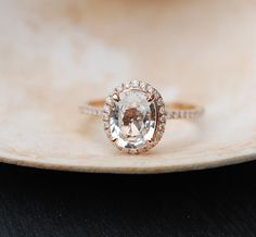 White Sapphire Ring Rose Gold Engagement Ring by EidelPrecious
