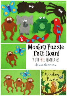 Monkey Puzzle felt board with free template based on children's book Monkey Puzzle by Julia Donaldson #kidsartsandcrafts #kidsactivities