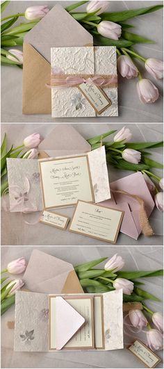 Handmade Paper with Petals and Leaves Eco Burlap Wedding Invitation