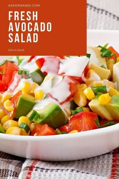 Fresh Avocado Salad Recipe. Check out this delicious summer salad recipe today! This fresh and simple avocado salad recipe is great for a summer day. Start making this fresh salad!