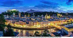 Greetings Card-Salzburg skyline & castle at dusk, Austria-Photo Greetings Card made in the USA Salzburg, Bad Gastein, Zell Am See, Boat Tours, Central Europe, World Heritage Sites, Dusk, Austria, Paris Skyline