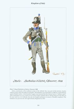Kingdom of Italy: Plate Royal Battalion of Istria, Chasseur, 1808 Kingdom Of Naples, Kingdom Of Italy, First French Empire, Italian Army, National History, War Of 1812, French Army, French Revolution, Napoleonic Wars