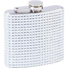 Maxam® 6oz Stainless Steel Flask with Silver Diamond Pattern Wrap #Maxam