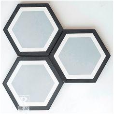 "Rustico Tile & Stone Hexagon Geometric Encaustic 8"" x 8"" Cement Mosaic Tile in Black/Gray"