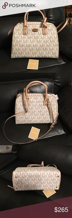 722bd0e4418f NWT, Michael Kors Signature Large Satchel Brand new with tags, never  carried. Large satchel purse Vanilla MK Signature. Measures about 11 inches  deep inside ...