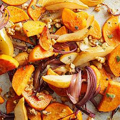 colorful blend of sweet potatoes, red onion and pears mix with sage ...