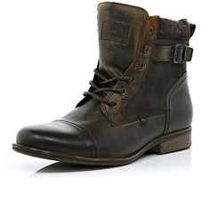 Brown military boots - boots - shoes / boots - men
