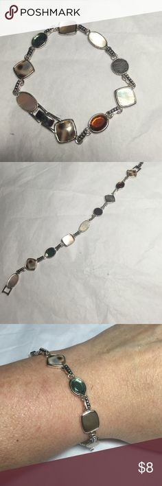 " FREE with any purchase - Silver & Stone Bracelet 8"" long. Very tight clasp. No blemishes or imperfections. Jewelry Bracelets"