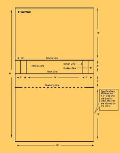 Standard measurements of a squash court squash courts for Racquetball court diagram