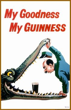 My Goodness My Guinness beer poster features a zoo keeper holding open the jaws of an alligator leaning in to find a pint of beer. The beautiful Vintage Poster Reproduction is from our catalogue of 1400 classic posters. Guinness by Gilroy .