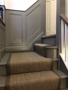 hallway flooring Oriental pewter sisal s - Victorian Terrace Hallway, Edwardian Hallway, Edwardian House, Tiled Hallway, Hallway Flooring, Painted Staircases, Painted Stairs, Sisal Stair Runner, Stair Runners