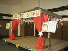 Turn a pop up canopy into a stage for a birthday party.
