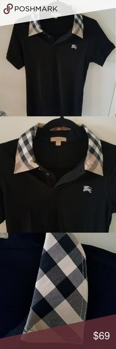 """Womans POLO 100% Auth Burberry Brit polo Shirt med Woman's  POLO 100% Authentic Burberry Brit polo Shirt. Very Rare! This is a UK exclusive, not available in the USA!  MEDIUM or LARGE In womans  size  BRAND NEW no tag  17"""" Armpit to armpit. Please compare. LAST PIC  Better Price through PPal Text me  Eric 925-984-1655  Low-ball offers will be ignored, sorry no trades  If you have an offer, make an offer, don't comment and ask if I'll take a certain amount.  Thanks Burberry Tops"""