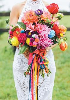 Lovely bright bridal bouquet perfect for a festival style wedding day.