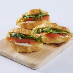 item per serve) Flaky buttery pastry croissant with savoury fillings. Fillings include: ham & cheese tomato & cheese (v) Mini Croissants, Homemade Croissants, Croissant Sandwich, Sandwich Shops, Breakfast Buffet, Breakfast Recipes, Kid Sandwiches, High Tea Food, Tapas