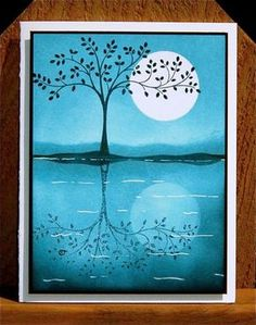 handmade card from One Happy Stamper: Blue moooon. tree silhouette with reflection in the waters . Card Making Techniques, Stamping Up Cards, Card Tutorials, Tampons, Sympathy Cards, Paper Cards, Creative Cards, Cool Cards, Greeting Cards Handmade