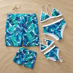 Tropical Leaves Family Matching Swimsuit Source by patpatshopping beachwear Summer Bathing Suits, Girls Bathing Suits, Summer Suits, Really Cute Outfits, Girls Fashion Clothes, Kids Swimwear, Cute Swimsuits, Summer Bikinis, Matching Family Outfits