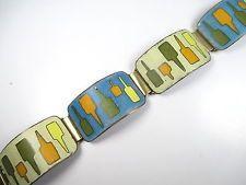 Designer Armband Stegemaille Emaille Vintage 30er-50er Art Deco Ära hN3