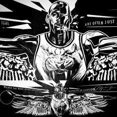 Michael Jordan Black Cat Cyborg Illustration