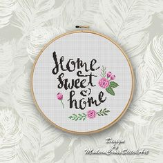 Home Sweet Home Cross Stitch Pattern PDF, Easy Cross Stitch Chart, Cross Stitch Floral PDF, Modern Embroidery Desing Wedding Cross Stitch Patterns, Disney Cross Stitch Patterns, Modern Cross Stitch Patterns, Cross Stitch Designs, Cross Stitch Quotes, Cross Stitch Letters, Cross Stitch Pictures, Small Cross Stitch, Cross Stitch Art