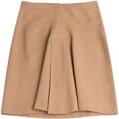 Derek Lam A-Line Skirt (670 BRL) ❤ liked on Polyvore featuring skirts, bottoms, faldas, camel, derek lam skirt, beige skirt, camel skirt, knee length a line skirt and derek lam