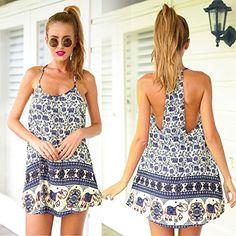 Blue Women's Vintage Sleeveless Slip Dress