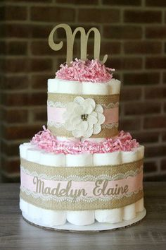 Small 2 Tier Pink Shabby Burlap Diaper Cake by BabeeCakesBoutique