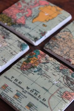 Map coasters...this would be cute to do for places you've been