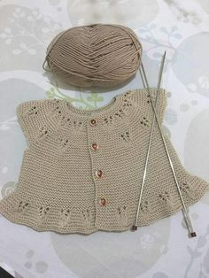 """Bedriye Özağaçli """"Discover thousands of images about Çok guzel # # # """"I've couldn't wait to cast on the Ria baby vest by so I'm using some Millamia Diy Crafts Knitting, Knitting For Kids, Baby Knitting Patterns, Baby Patterns, Knit Baby Dress, Knitted Baby Cardigan, Baby Pullover, Baby Sweaters, Baby Booties"""
