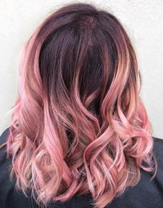 Blush-Pink-Ombré-On-Medium-Length-Curls