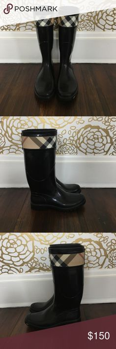 Burberry rain boots Beautiful size 6 Burberry rain boots, like new, only worn a handful of times. Perfect for the winter and rainy seasons in the spring and fall! Burberry Shoes Winter & Rain Boots