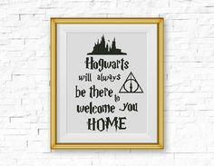 BOGO FREE! Hogwarts Cross Stitch Pattern, Welcome Home xStitch, Harry Potter, Always, Quote, Modern Home Decor, PDF Instant Download #016-13 by StitchLine on Etsy