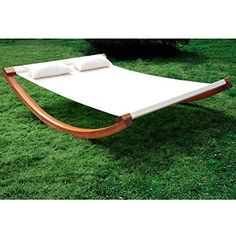 Outsunny Rocking Double Sun Lounger Hammock with Curved Wood Stand Outdoor White in Home & Garden, Yard, Garden & Outdoor Living, Patio & Garden Furniture Hammock Swing Bed, Diy Hammock, Hammock Stand, Garden Hammock, Patio Swing, Garden Furniture Sale, Outdoor Furniture, Outdoor Decor, Outdoor Living