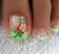 Cute Pedicures, Pedicure Nails, Manicure, Toenail Art Designs, Pedicure Designs, Summer Toe Designs, Flower Toe Nails, Summer Toe Nails, Nails Only