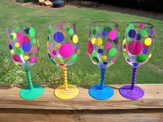 Handpainted Wine Glasses by SuddenlyPink on Etsy, $12.00